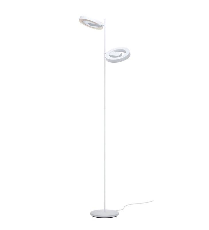Lampa podłogowa Alvendre LED chromowana podstawa z 2 białymi kloszami do pokoju dziennego sypialni ściemniacz dotykowy