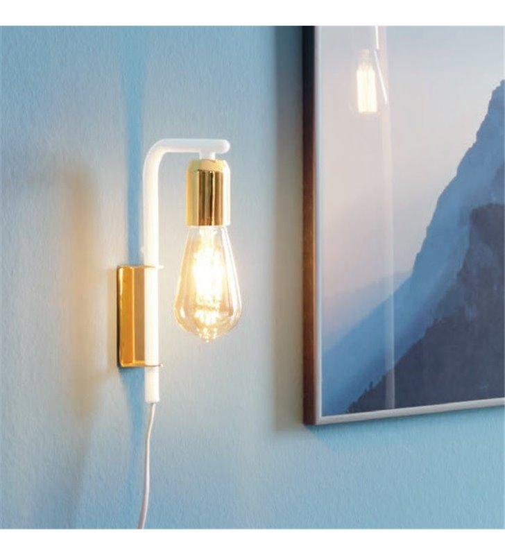 Złoto biała minimalistyczna lampa ścienna Adri2 kinkiet bez klosza do holu sypialni salonu włącznik na przewodzie