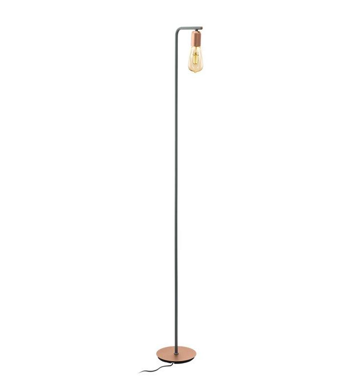 Lampa podłogowa Adri1 szara z różowo złotym wykończeniem do nowoczesnego salonu sypialni