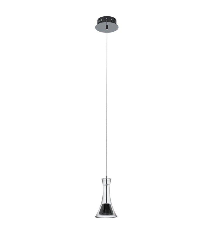 Lampa wisząca Musero1 z kloszem z czarnego transparentnego szkła oraz z czarnym niklowym wykończeniem