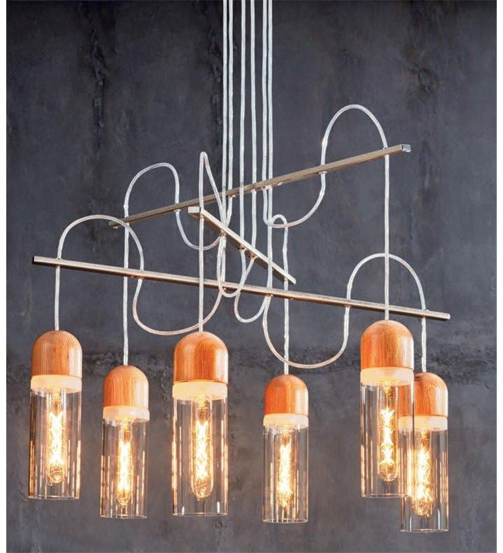 Zachwycająca designerska lampa Zacharo1 nikiel satyna 6 szklanych kloszy z elementami drewnianymi do pokoju dziennego sypialni