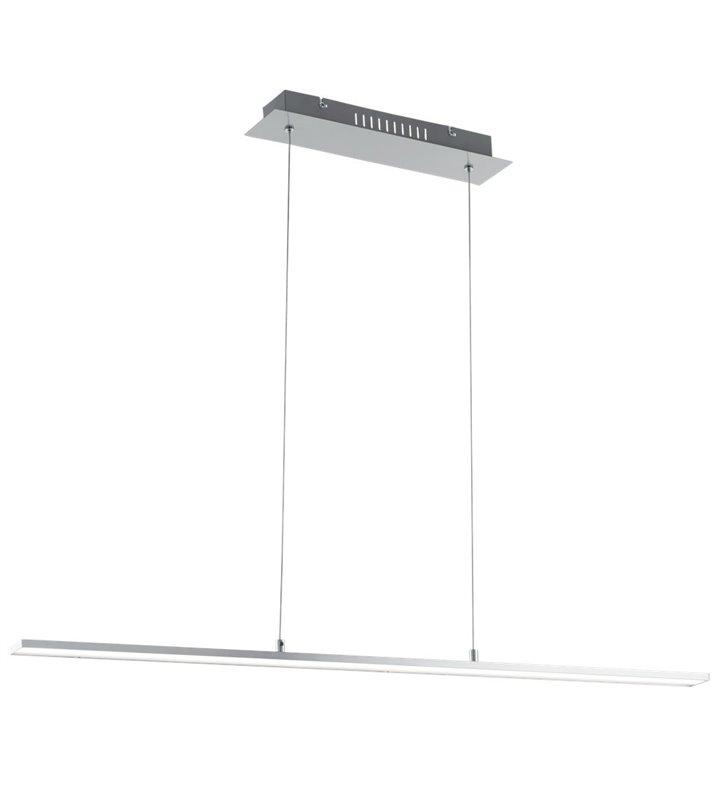 Nowoczesna ponad metrowa podłużna lampa wisząca Flagranera nikiel satyna do jadalni kuchni biura nad stół - OD RĘKI