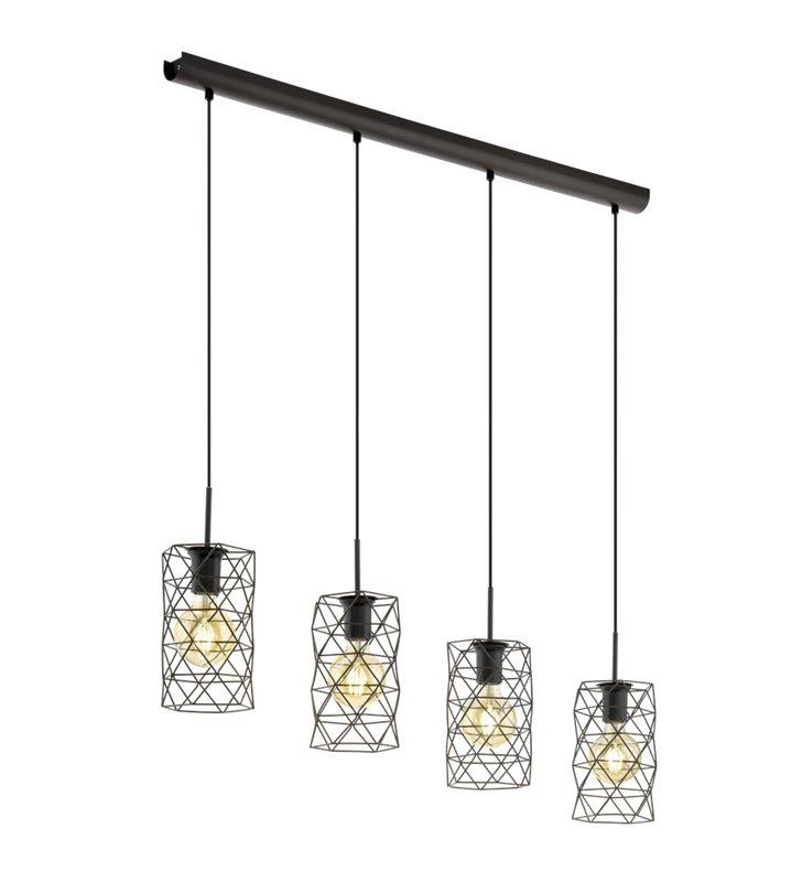 Lampa wisząca Estevau z kloszami z ciemno brązowego metalu 4 punktowa do kuchni salonu jadalni