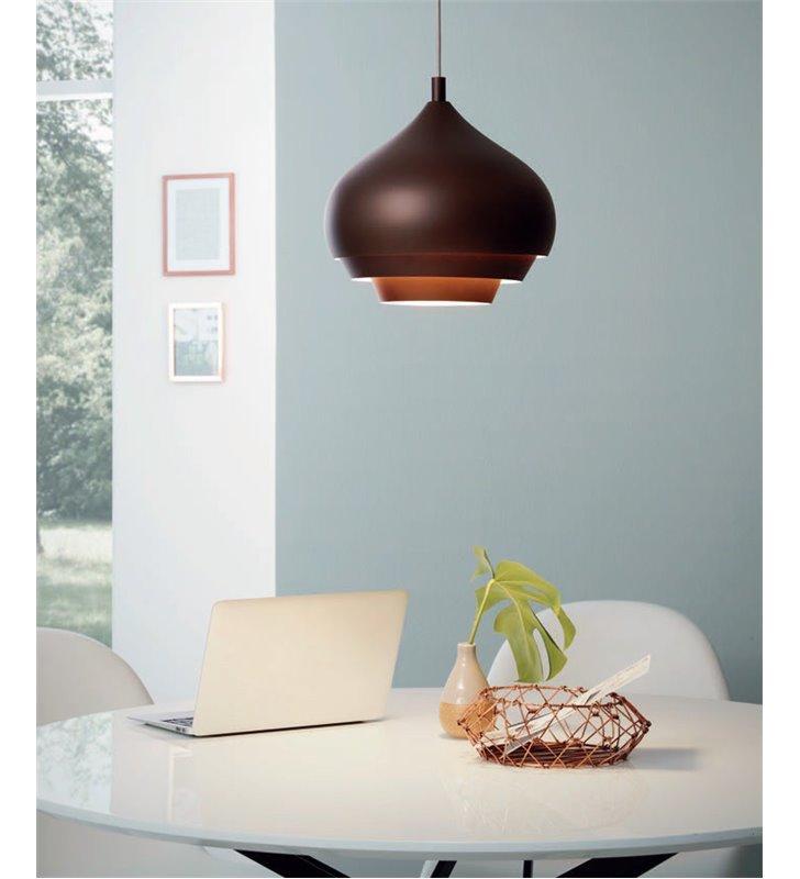 Brązowa lampa wisząca z kremowym środkiem Camborne w nowoczesnym stylu do sypialni jadalni kuchni