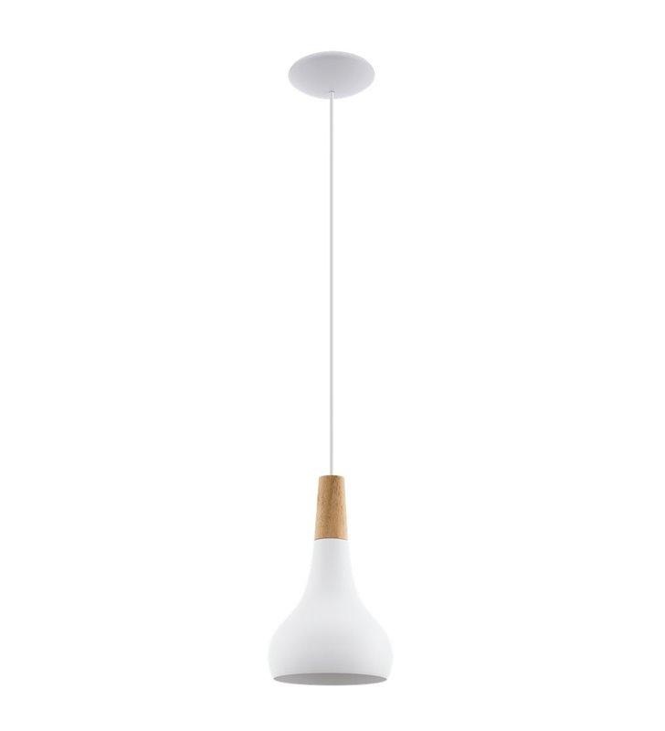 Mała lampa wisząca Sabinar z białym kloszem z drewnianym detalem do jadalni salonu sypialni