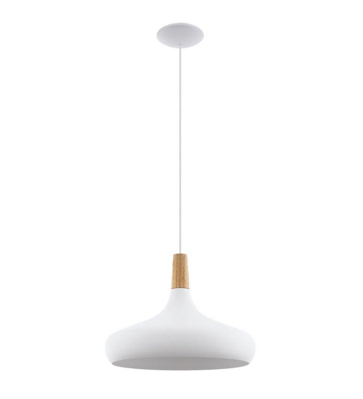 Lampa wisząca Sabinar biała drewniane wykończenie klosza styl nowoczesny