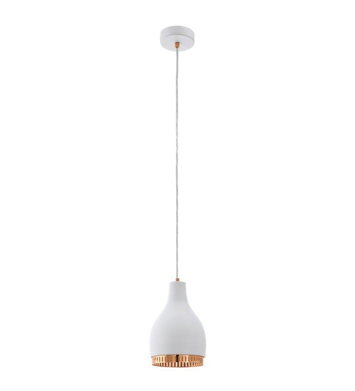 Lampa wisząca Cocno z biało miedzianym kloszem lampa do salonu kuchni jadalni