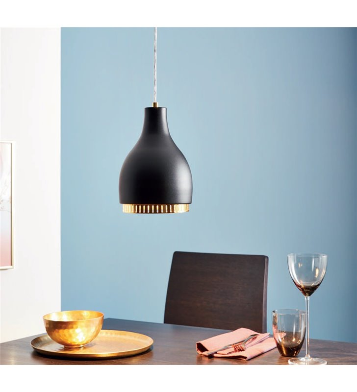 Lampa wisząca Cocno z czarno złotym kloszem do kuchni salonu sypialni jadalni