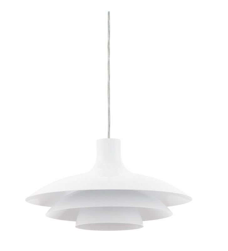 Biała kuchenna lampa wisząca Almozar warstwowy metalowy klosz