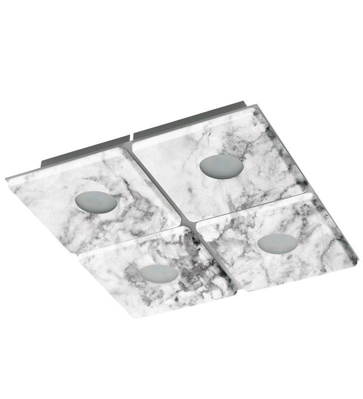 Kwadratowy plafon Aliste 290 LED z ciekawym zdobieniem imitującym marmur