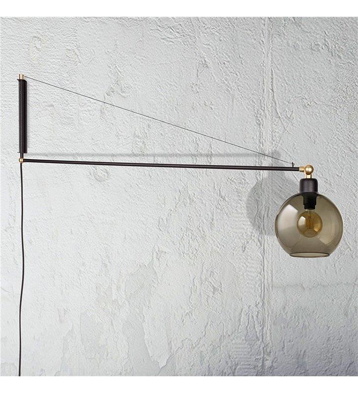 Kinkiet Crane duży nowoczesny na wysięgniku czarny włącznik na kablu