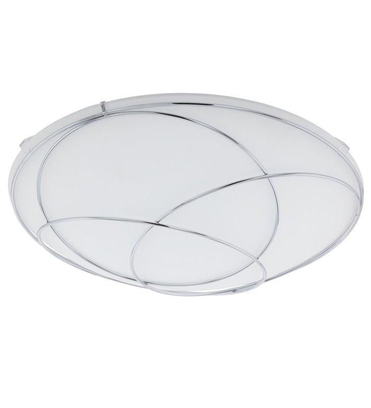 Plafon Lerida 315 biały szklany klosz z chromowaną dekoracją