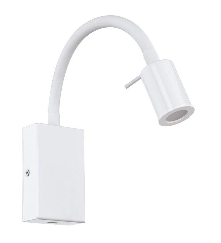 Nowoczesny biały kinkiet z giętkim ramieniem Tazzoli włącznik na lampie gniazdo USB