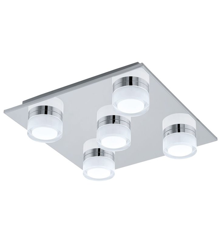 Kwadratowy plafon łazienkowy 5 punktowy IP44 Romendo1 chrom możliwość ściemniania światła