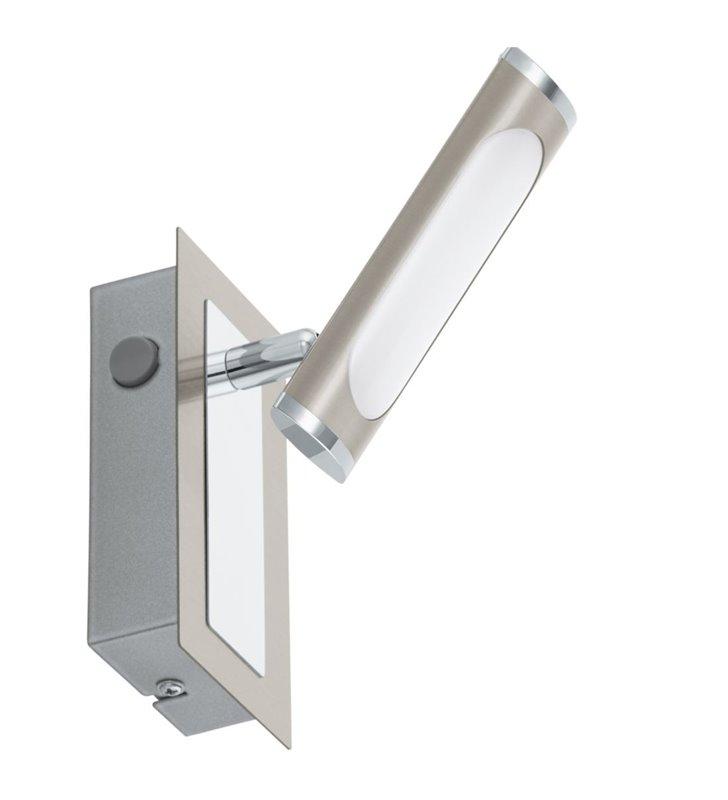 Nowoczesny kinkiet Coedo LED z włącznikiem połączenie satynowego niklu z chromem