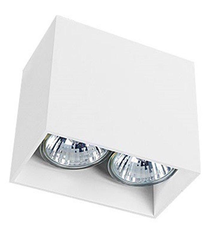 Podwójna biała prostokątna oprawa natynkowa Gap White