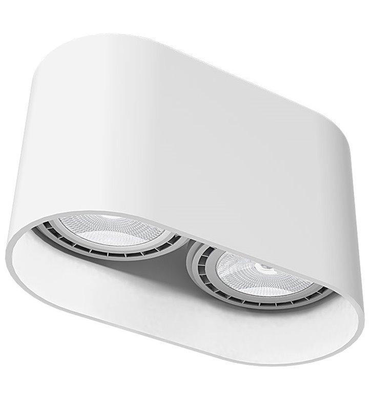 Owala biała lampa sufitowa Oval White podwójna żarówki GU10 ES111