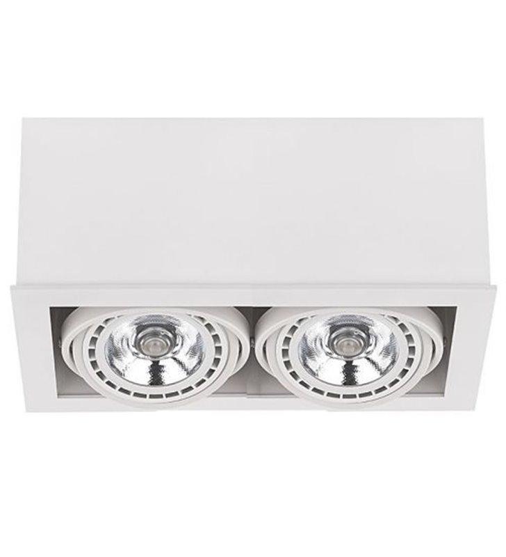 Lampa sufitowa Box White biała 2 punktowa nabudowana