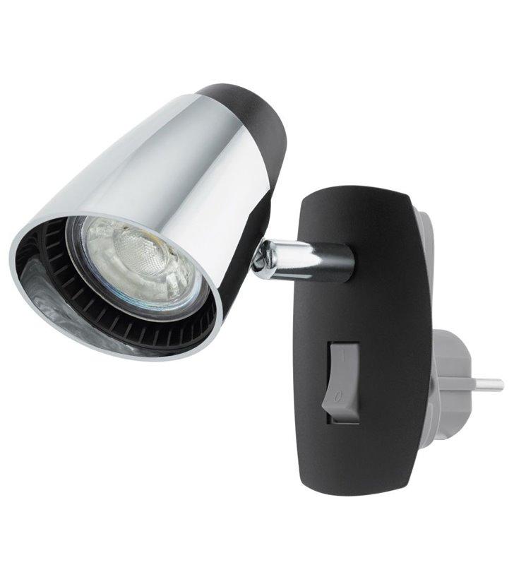 Moncalvio (5) kinkiet z wtyczką wpinany do gniazdka czarny z wykończeniem chrom włącznik na lampie - DOSTĘPNY OD RĘKI