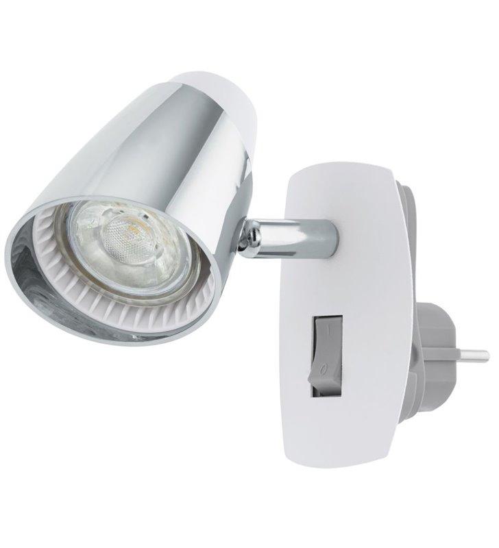 Moncalvio (5) kinkiet z wtyczką wpinany do gniazdka biały z chromem włącznik na lampie