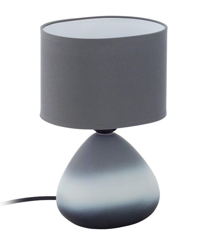 Lampa stołowa Bonilla szara z ceramiczną podstawą abażur z tkaniny