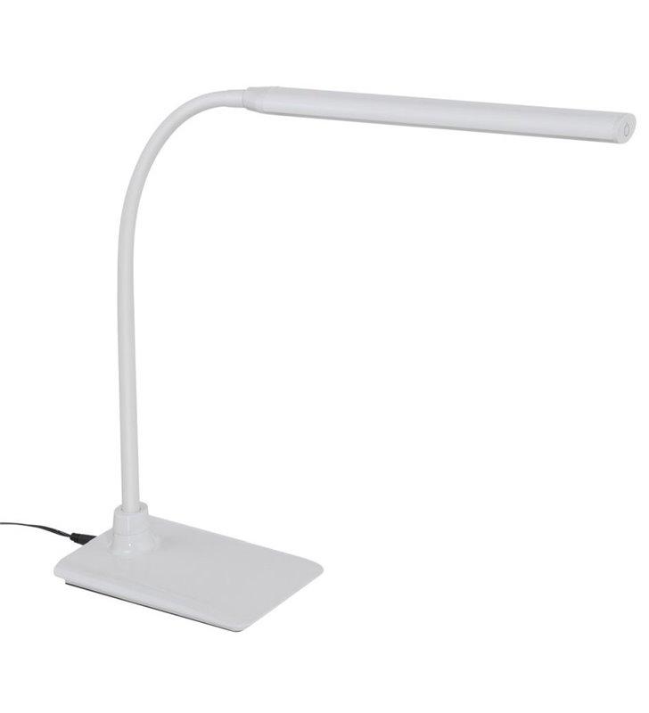Nowoczesna biała lampka biurkowa Laroa LED naturalna barwa światła podłużny klosz giętkie ramię włącznik dotykowy na kloszu