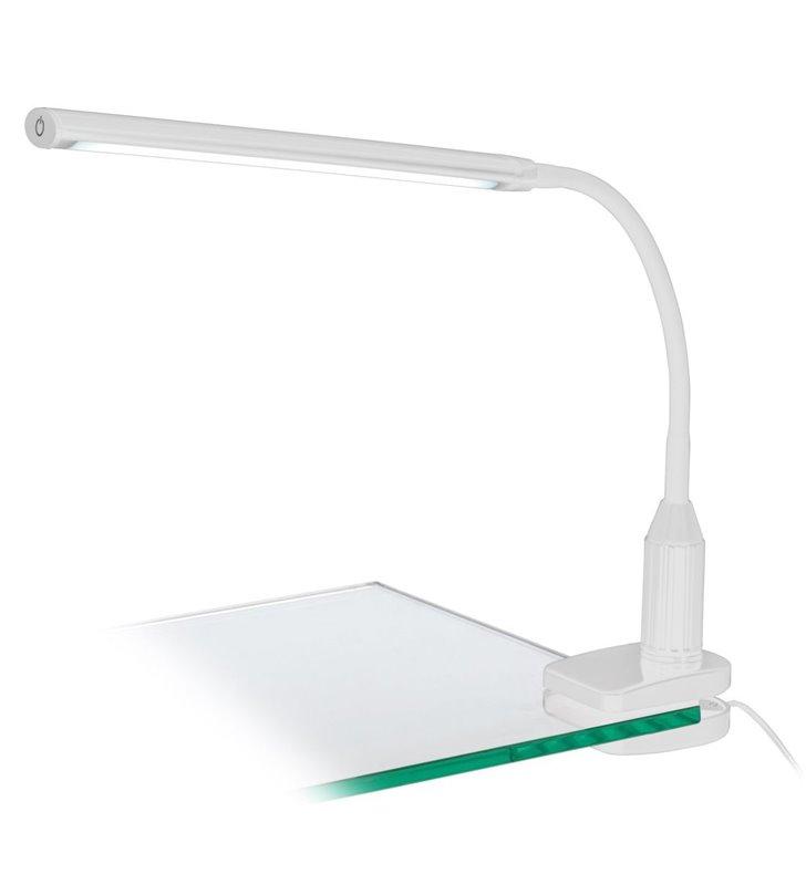 Lampka biurkowa Laroa LED biała z klipsem naturalna barwa światła podłużny klosz włącznik dotykowy na kloszu