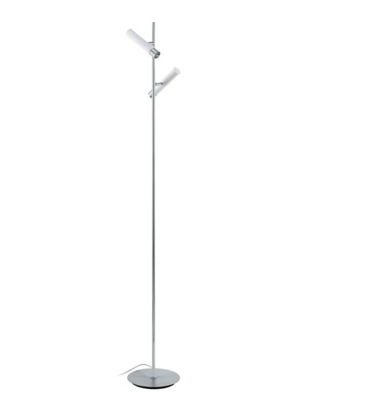 Lampa stojąca Effugi chrom z białymi 2 kloszami włącznik podłogowy
