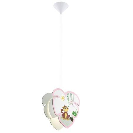 Lampa wisząca Louie z małpką z różowym wykończeniem do pokoju dziewczynki