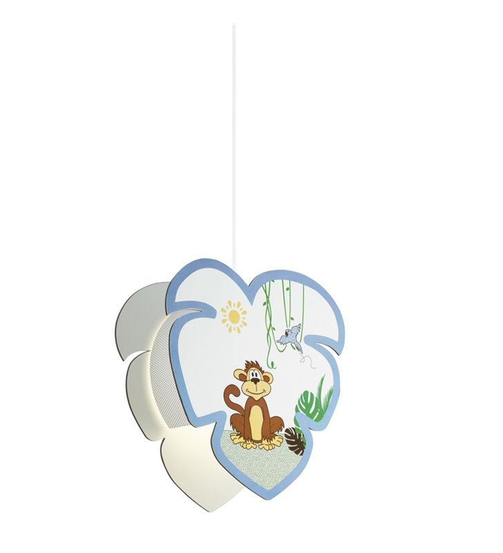 Dziecięca lampa wisząca Louie z małpką z niebieskim wykończeniem do pokoju chłopca