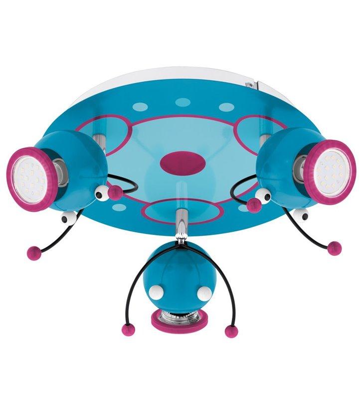 Kolorowa potrójna okrągła lampa sufitowa Laia1 do pokoju dziecka chłopca dziewczynki