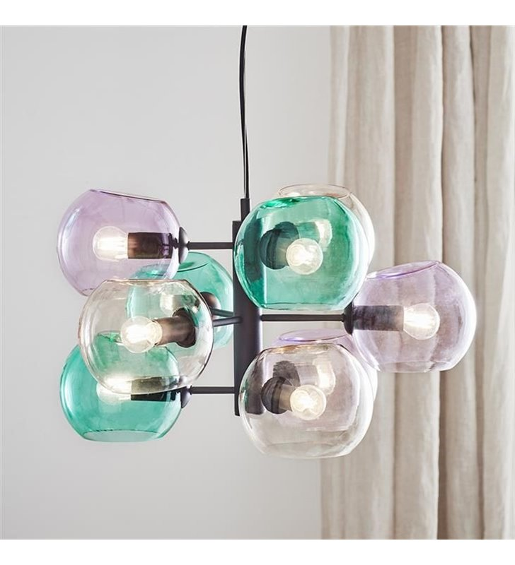 Designerski żyrandol lampa wisząca wielopunktowa ze szklanymi kolorowymi kloszami Soap