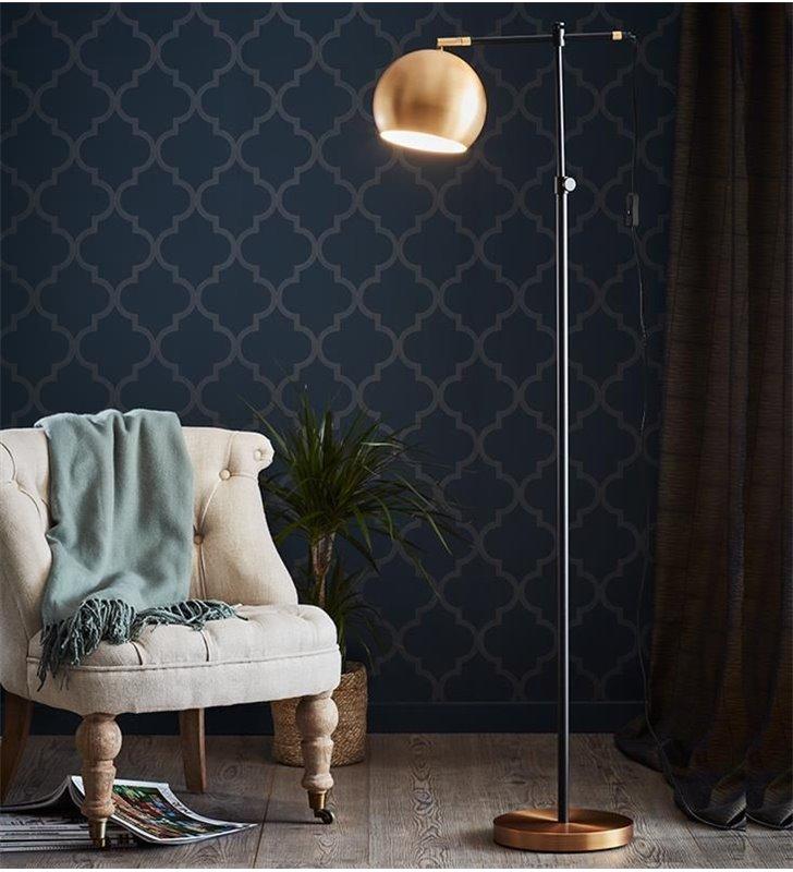 Elegancka lampa stojąca Chester mosiądz szczotkowany czarny metalowa okrągły klosz do salonu sypialni pokoju dziennego