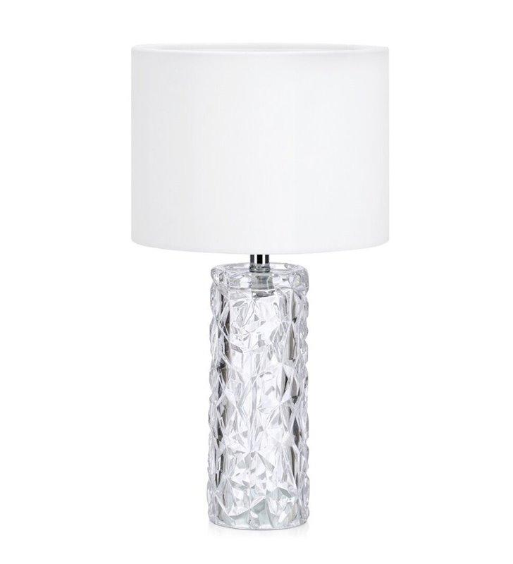 Lampa stołowa Madame bezbarwna szklana dekoracyjna podstawa z białym aksamitnym abażurem