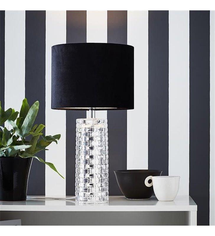Lampa stołowa Monsieur szklana ozdobna podstawa czarny aksamitny abażur - OD RĘKI
