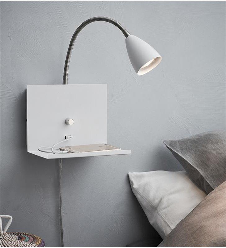 Kinkiet półka z gniazdem USB Logi biały ze ściemniaczem giętkie ramię