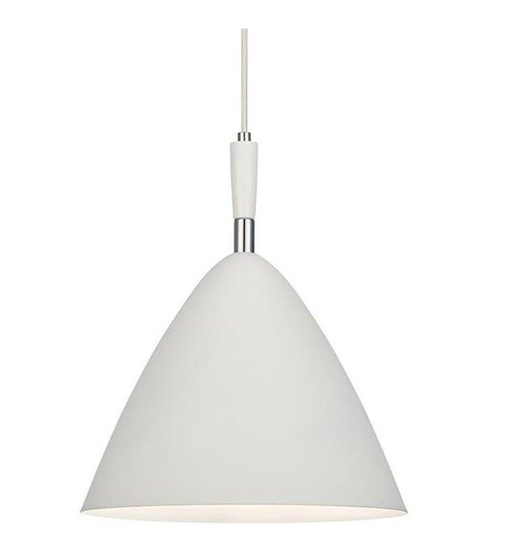 Lampa wisząca Osteria biała z detalami w kolorze chrom średnica 33cm kabel biały tekstylny