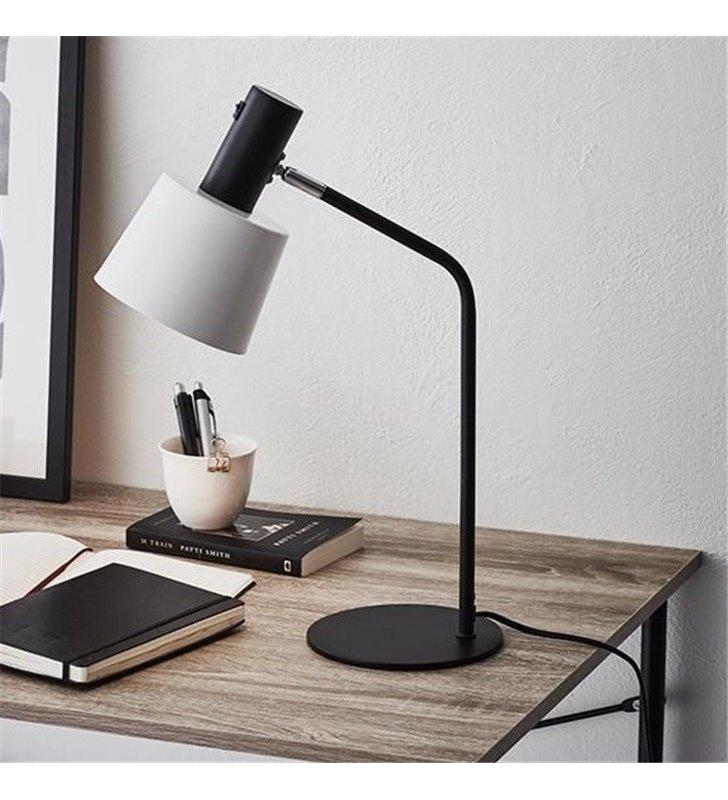 Lampa stołowa nocna biurkowa Bodega biało czarna włącznik na kloszu