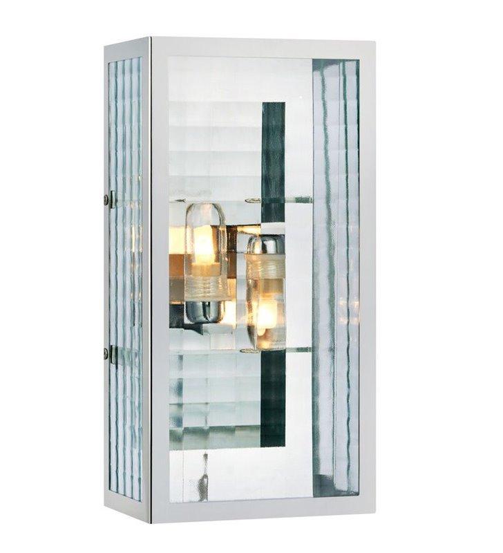Nowoczesny kinkiet prostokątny Fulham chrom bezbarwne szkło 2 żarówki