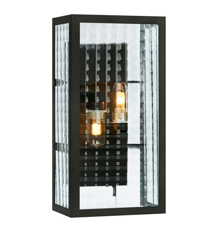 Czarny nowoczesny kinkiet łazienkowy z bezbarwnym szklanym kloszem IP44