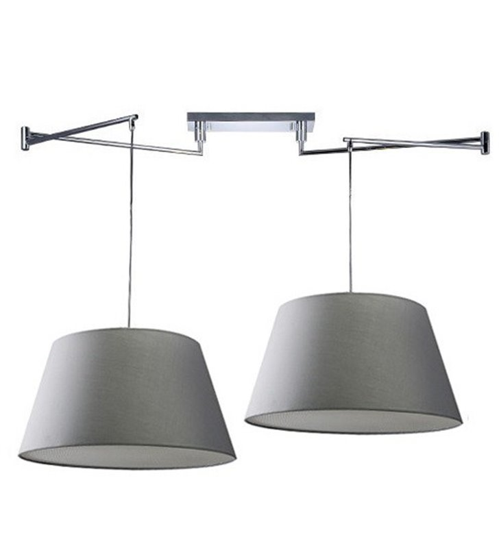 Nowoczesna podwójna szara lampa wisząca z regulowanym rozstawem zwisów Natalia