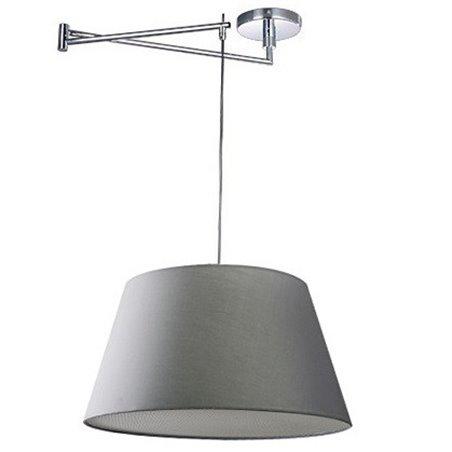 Szara nowoczesna lampa wisząca z ruchomym ramieniem regulacja zasięgu klosza Natalia do salonu jadalni kuchni sypialni