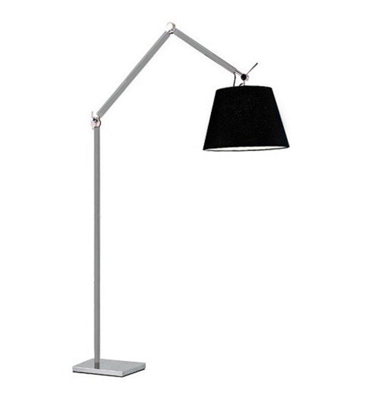 Wysoka nowoczesna lampa stojąca Zyta duży zakres regulacji czarny abażur aluminiowa podstawa z chromowanymi elementami