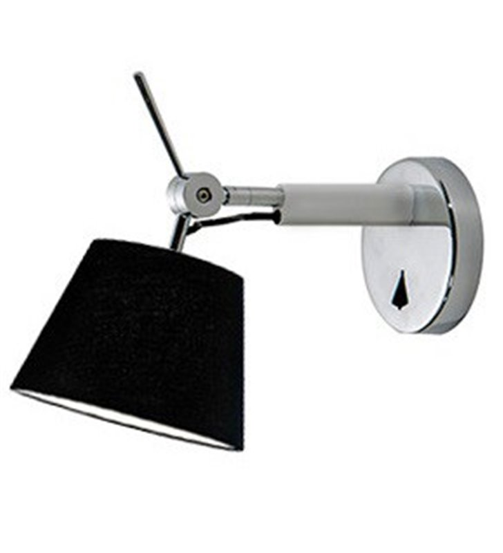 Kinkiet Zyta nowoczesny z czarnym abażurem ramię aluminium z chromem
