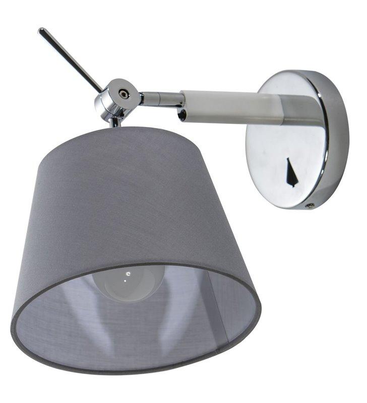 Nowoczesna lampa ścienna Zyta szary tekstylny abażur podstawa aluminium z chrom