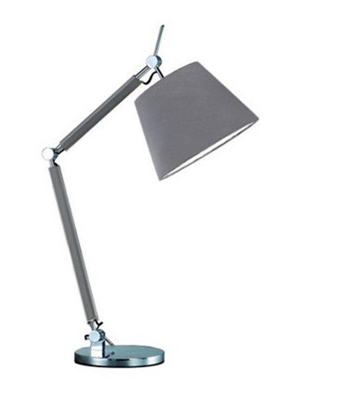 Wysoka nowoczesna szara lampa stołowa Zyta z łamanym ramieniem szary abażur z materiału
