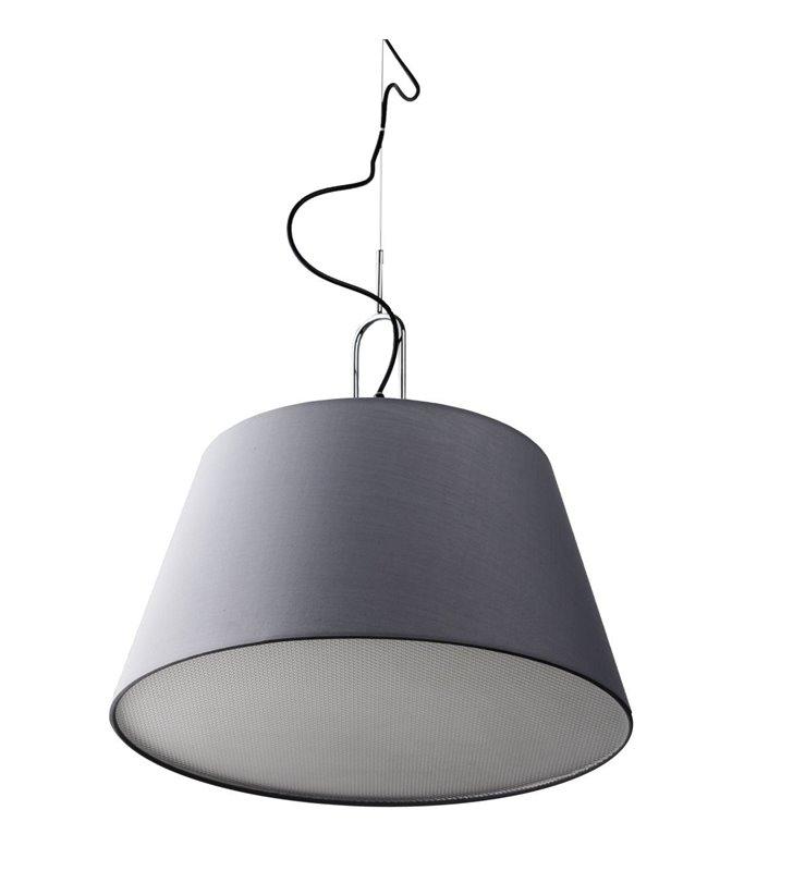 Szara tekstylna lampa wisząca Alicante żarówki zasłonięte do salonu sypialni jadalni średnica 50cm