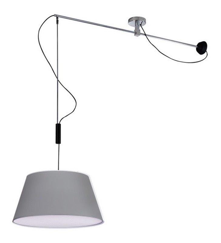 Lampa wisząca z wysięgnikiem Malaga szara można obracać osłona żarówek do salonu sypialni kuchni jadalni