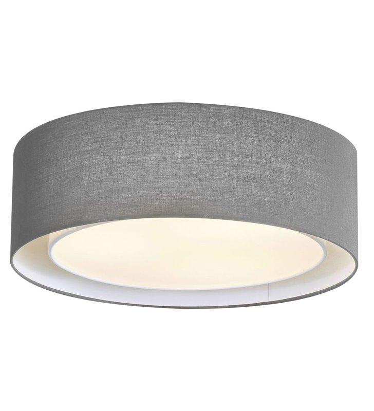 Szary okrągły plafon z materiału Milo średnica 50cm na 3 żarówki E27 do salonu sypialni jadalni na przedpokój