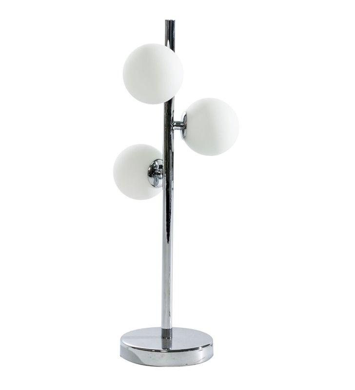 Lampa stołowa Sybilla chromowana pionowa podstawa z 3 szklanymi kloszami kule